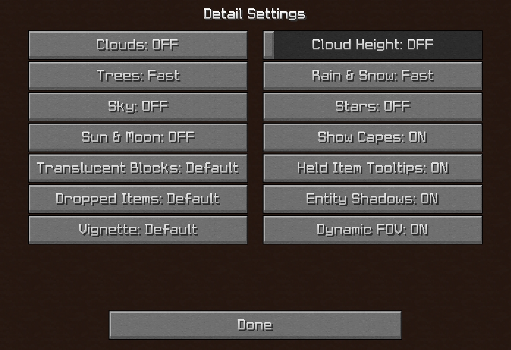 Minecraft Details Settings