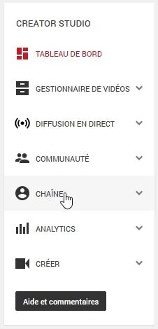Onglet chaîne YouTube