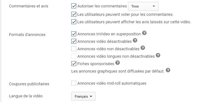 Paramètres avancés YouTube