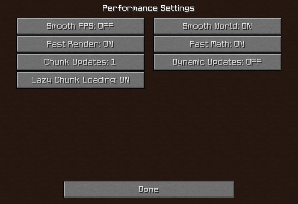 Minecraft Performance Settings