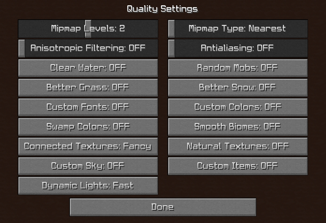 Minecraft Quality Settings